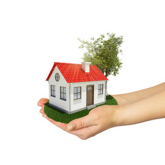 Human hands holding small house with tree and grass