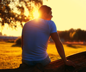 Relax lifestyle photo silhouette lovely man