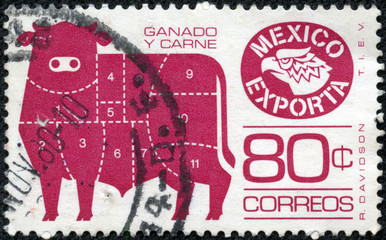 stamp printed in Mexico showing an image of bull