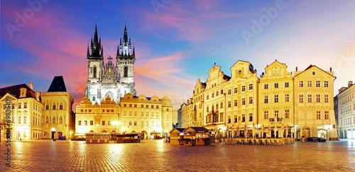 Fototapeta Prague Old town square at night - panorama