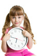 canvas print picture - Girl displaying seven o'clock time in studio isolated