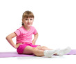 canvas print picture - Girl doing gymnastic exercises isolated  on white