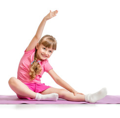 Little girl making sport exercises isolated  on white