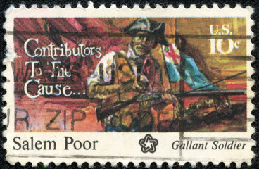 stamp printed in the USA shows Salem Poor