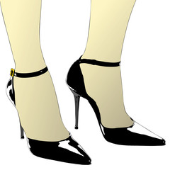 The elegant shoes of a woman