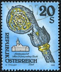 stamp shows Crosier, Fiecht Monastery, Tirol