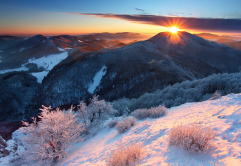 Winter  mountain with sun - Slovakia
