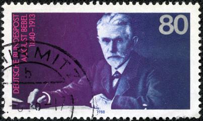 stamp printed in German shows August Bebel