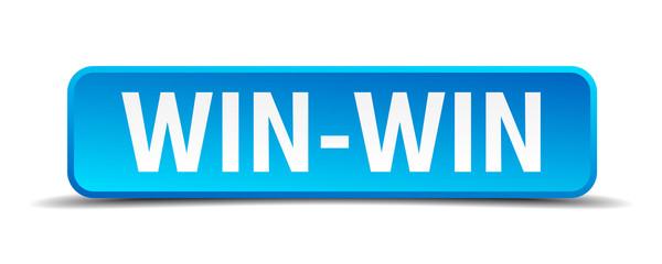 Win-Win blue 3d realistic square isolated button