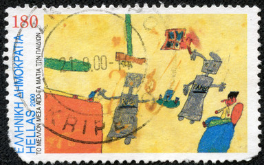 stamps shows Robots by Ornella Moshovaki-Chaiger