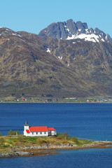 Church in fjord on Lofoten islands in Norway