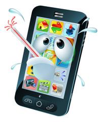 Virus mobile cell phone cartoon