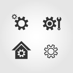 Gear icons set, flat design