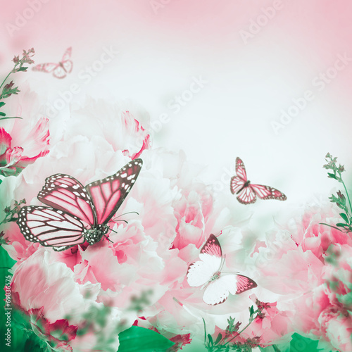 canvas print picture Floral background of roses and butterfly, wild flowers
