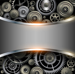 Abstract background metallic chrome silver with gears