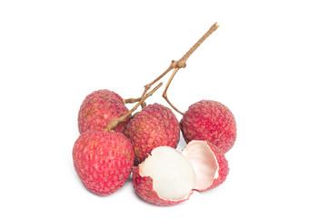 lychee fruits isolated on white background