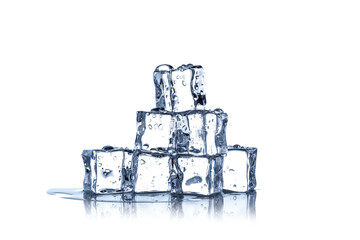 Cubes of ice on a white background.