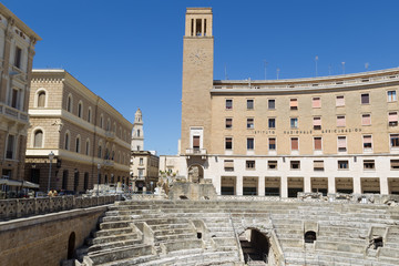 Lecce, Italy - July, 2, 2014: The Roman Amphitheatre