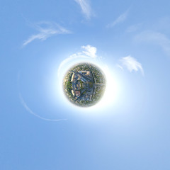 Aerial city view - little planet mode