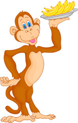 cute monkey cartoon with banana