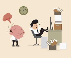Boss see Employee fall assleep during working