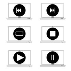 Black player control icon. Raster