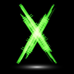 Green letter X on a black background. Raster