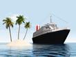 canvas print picture - Insel und Ozeandampfer