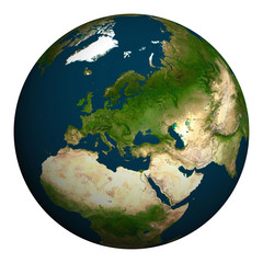 Planet earth. Europe, part of Asia and Africa.