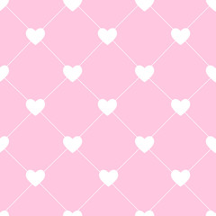 Valentines Day Seamless Hearts Pattern Vector Illustration