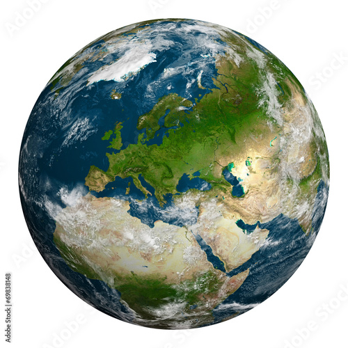 canvas print picture Planet earth with clouds. Europe, part of Africa and Asia.