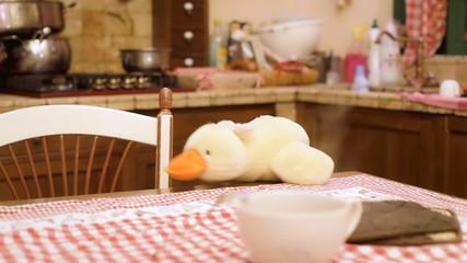 Stuffed toy duck in kitchen