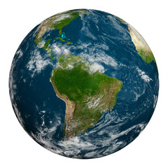 Planet earth with clouds. South America.