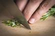 Cocinero picando romero a cuchillo en la mesa de la cocina - 69838599