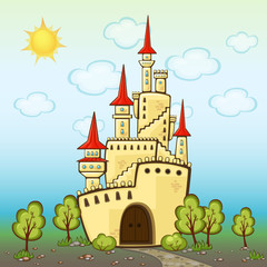 Castle in cartoon style