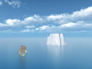 Eisberg und Segelschiff
