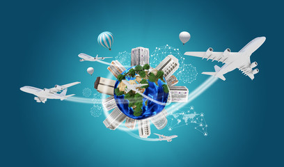 Earth with buildings on surface. Airplanes and network icons