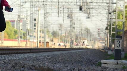 People Cross Railroad - FullHD