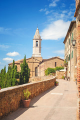 Sunny view of the bell towers in Pienza