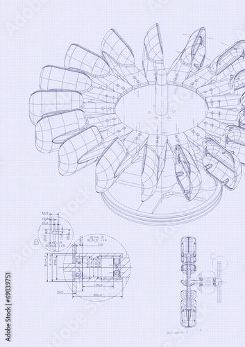 Leinwanddruck Bild industrial blueprint