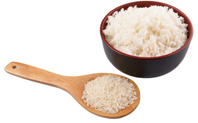Raw and cooked rice over white background