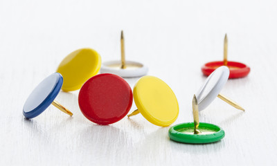 Multicolored thumbtacks