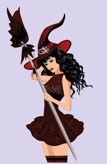 Halloween girl witch, vector illustration