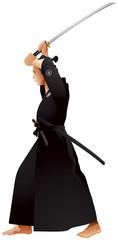 Kenjutsu Jodan no kamae samurai