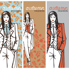 Fashion girl in sketch style. Vector illustration.Graphics