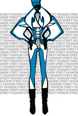 Abstract woman in coat.Fashion Illustration