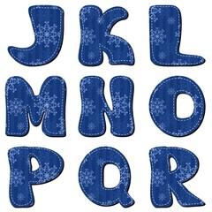 scrapbook alphabet with snowflakes