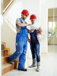 canvas print picture - Craftsman and customer in a building lot