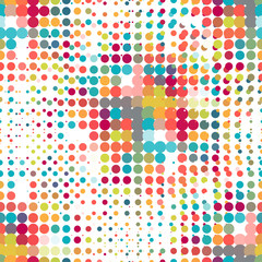 Disco seamless pattern of halftone dots in retro style.