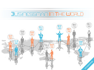INFOGRAPHIC BUSINESSMAN  WORLD ORANGE